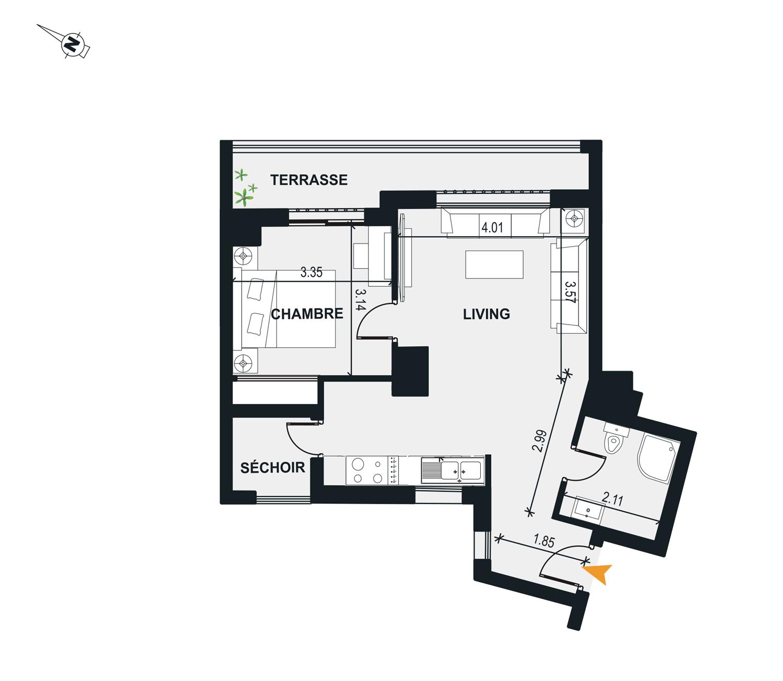 Appartement S+1 à vendre - Immobilière ElItkane